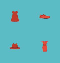 Flat icons sundress fedora evening dress and vector