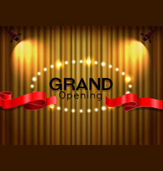 Grand opening cutting red ribbon on curtain with vector