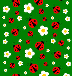 Green Meadow With Red Ladybugs And Flowers vector image vector image