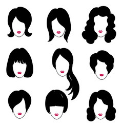 Hair style set woman profile pretty girl face vector