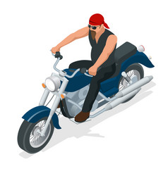 Isometric biker on a motorcycle on the road the vector