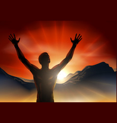 Man in silhouette arms raised on mountain vector