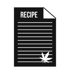 Medical recipe with hemp leaf icon vector