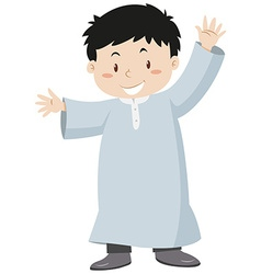 Muslim boy waving hands vector image