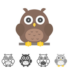 Owl icons set vector