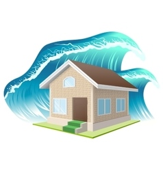 Property insurance flood wave washes away home vector