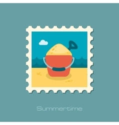 Sand bucket and shovel flat stamp vector