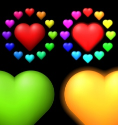 set of coloured hearts vector image vector image