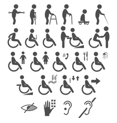 Set of disability people pictograms flat icons vector