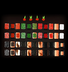 Set of tasty sushi rolls with tobiko caviar vector