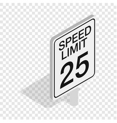 Speed limit road sign isometric icon vector