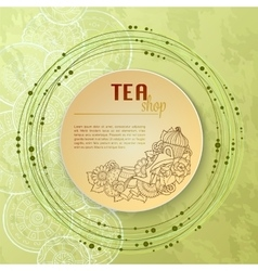 Tea and flowers doodle template pattern invitation vector image