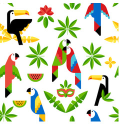 tukan and parrots flat pattern vector image vector image