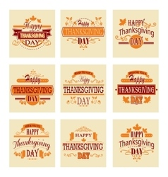 Typographic Thanksgiving Design Set vector image