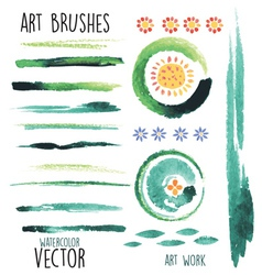 watercolor green brushes and floral elements vector image