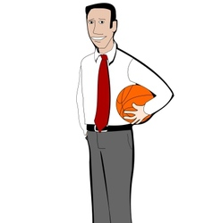Young businessman with basketball ball vector image vector image