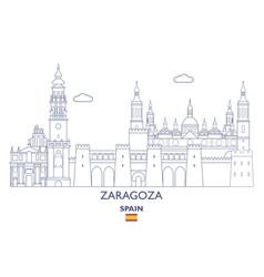 Zaragoza city skyline vector