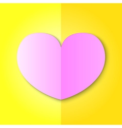 Pink heart on yellow background vector
