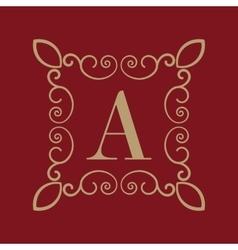Monogram letter a calligraphic ornament gold vector