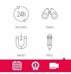 24h service pencil and magnet icons vector