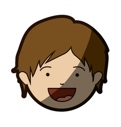 color silhouette of smiling boy face with short vector image