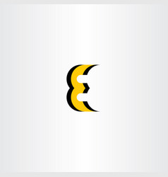 Letter e yellow black icon logo vector