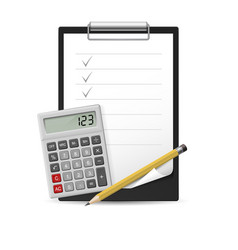 Pencil calculator and notepad vector