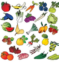 Freehand drawing fruits and vegetables icon set vector