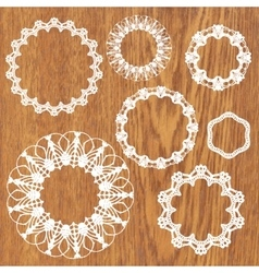 Set of crochet lacy frames vector