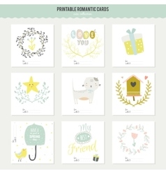 Set of cards notes and stickers with cute vector