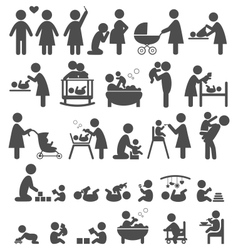 Set of family and baby pictograms flat icons vector