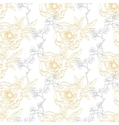 Gold gray drawing peony floral diagonal vector