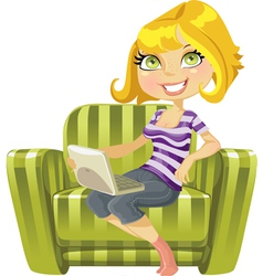 Cute blond girl vector