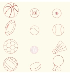 Sport icons line design vector