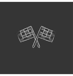 Two checkered flags drawn in chalk icon vector