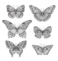Set of six ornate doodle hand drawn butterflies vector
