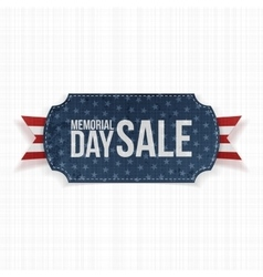Memorial day sale patriotic label and ribbon vector