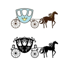 Beautiful vintage carriage silhouette with horse vector