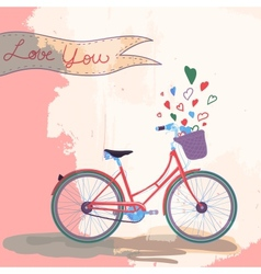 Bicycle loves you vector image vector image