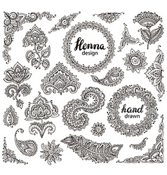 Big set of henna floral elements and frames vector