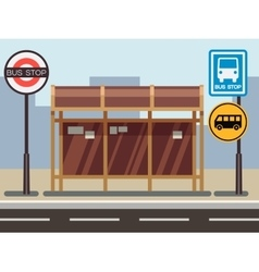 Bus stop with urban cityscape vector image vector image
