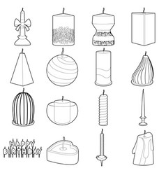 Candle forms icons set outline style vector