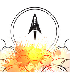 contour of an upcoming rocket with smoke and vector image vector image