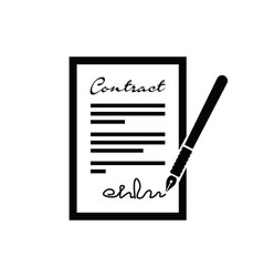 contract and pen icon vector image vector image