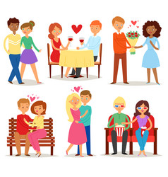 couple in love lovers characters in lovely vector image vector image