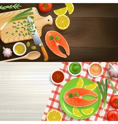 Flat Lay Cooking 2 Banners Set vector image vector image