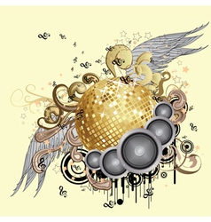Gold disco ball with wings2 vector image vector image