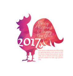 Greeting card with christmas and new year cock vector