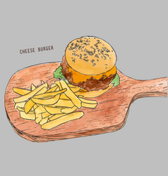 hamburger with fries hand drawn sketch vector image vector image