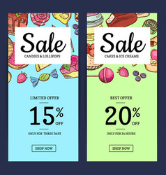 hand drawn sweets vertical sale banner vector image vector image